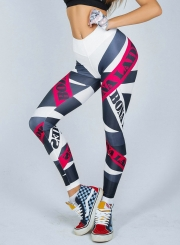Fashion High Waist Letters Printed Sports Leggings
