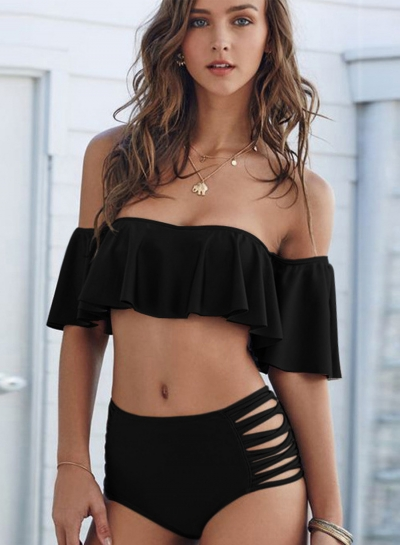 2 Piece Ruffle Top High Waist Bikini Set