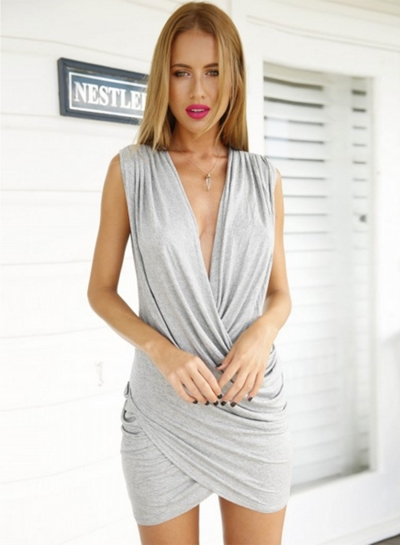 Fashion Deep V Neck Sleeveless Solid Color Bodycon Dress