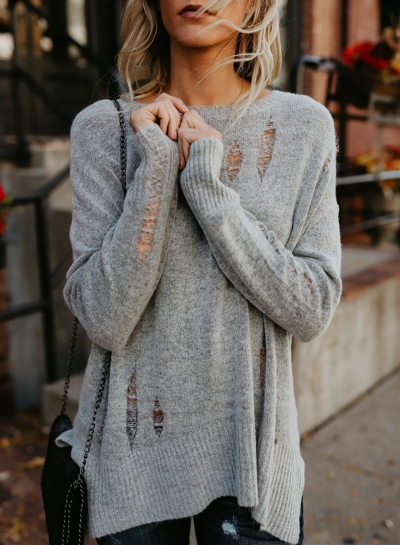Ripped Loose Fit Knit Sweater
