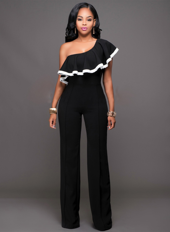11808962dcac One shoulder ruffle wide leg jumpsuit loading zoom jpg 1100x1500 One  shoulder jumpsuit for women