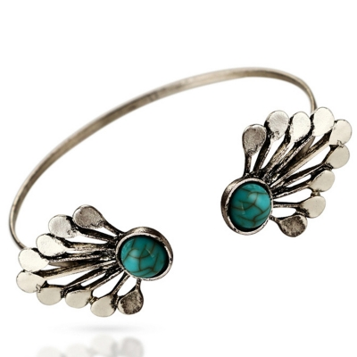 Fashion Alloy Faux Diamonds Decoration Open Bracelet