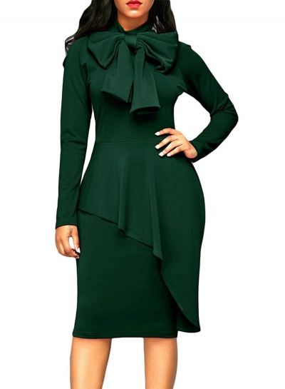 Solid Long Sleeve High Waist Bow Bodycon Dress