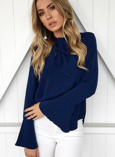 Elegant Lace-up Solid Color Flare Sleeve Blouse