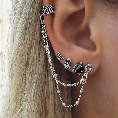 Fashion Vintage Asymmetric Chain Design Sets Earrings