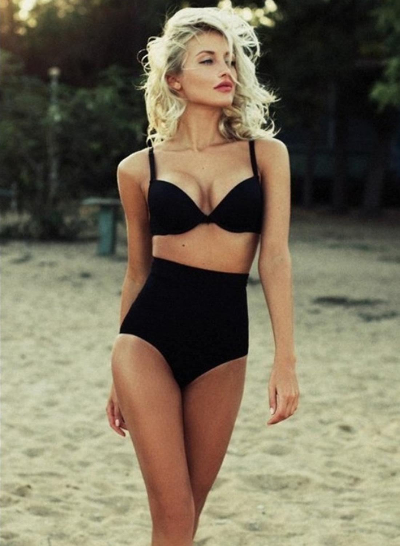 05075dbb879 Loading zoom. Sexy Spaghetti Strap Sleeveless Solid Color Two Pieces Bikini  Swimwear ...