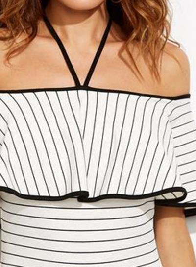 Fashion Halter Neck Flounce Hem Striped One Piece Swimwear stylesimo.com