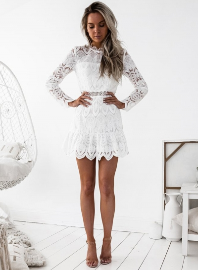 Fashion Round Neck Long Sleeve Solid Color Lace Dress STYLESIMO.com