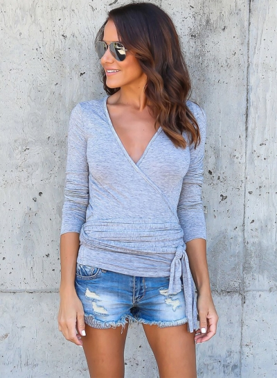 Fashion V Neck Long Sleeve Solid Color Pullover Tee Shirt