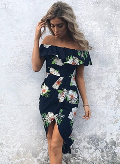 Off Shoulder Ruffle Slit Irregular Dress