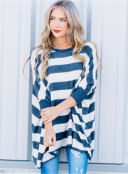 Fashion Loose Fit Stripe Pullover Batwing Sleeve Tee