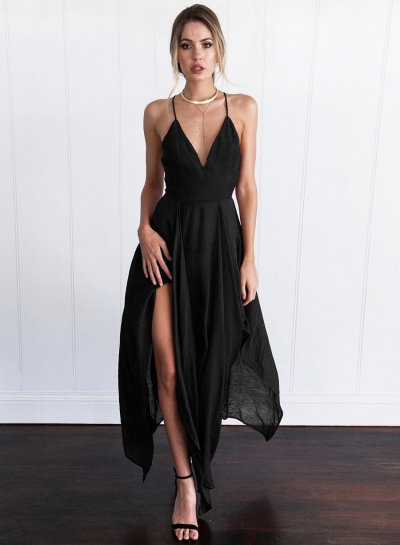 Fashion Spaghetti Strap V Neck Sleeveless Solid Color Dress