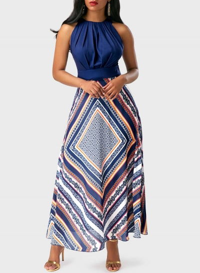 Sleeveless Geo Printed Maxi Chiffon Evening Dress STYLESIMO.com