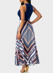 Sleeveless Geo Printed Maxi Chiffon Evening Dress