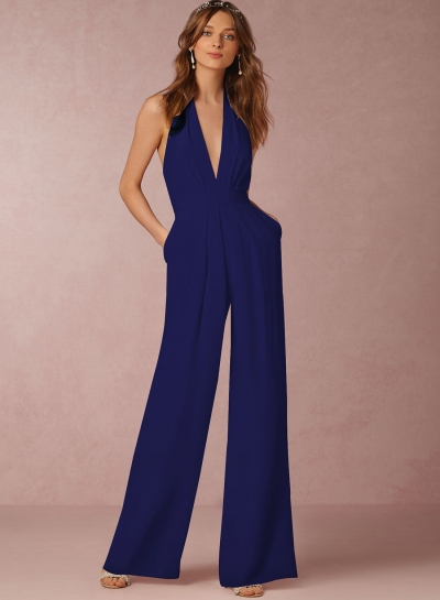 Fashion Halter V Neck Backless Wide-Leg Jumpsuit