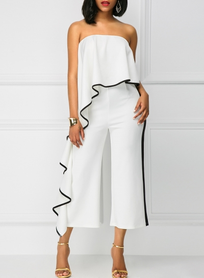 Fashion Strapless Ruffle Wide Leg Jumpsuit