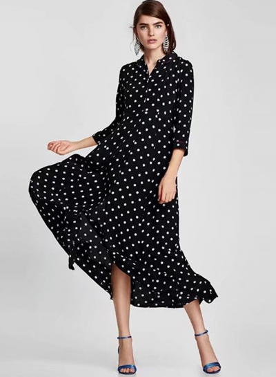 Fashion Long Sleeve Polka Dots Maxi Dress