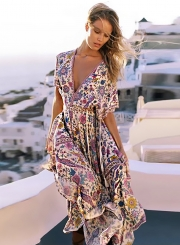 V Neck Short Sleeve Maxi Floral Boho Dress
