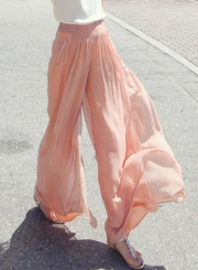 High Waist Chiffon Wide Leg Pants
