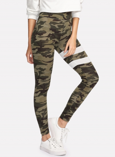 Fashion Camo Printed Stripe Yoga Pants
