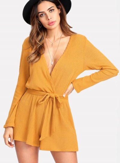 V Neck Long Sleeve Solid Romper with Belt