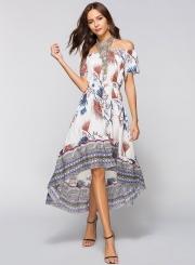 Off Shoulder Short Sleeve Floral Printed High Low Dress