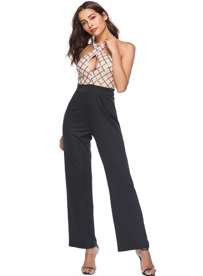 Halter Sleeveless Backless Sequins Wide Leg Jumpsuit