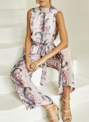 Sleeveless Backless Floral Wide Leg Jumpsuit with Belt