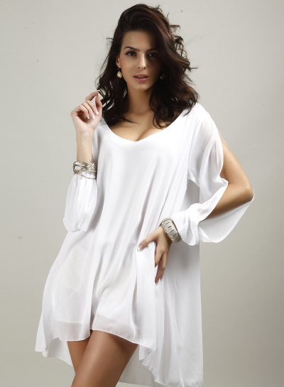 V Neck Slit Sleeve Chiffon Mini Dress