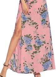 Halter Sleeveless Floral Slit Maxi Boho Chiffon Dress