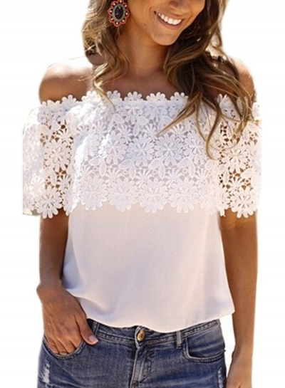 Fashion Off Shoulder Lace Tee