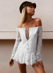Off Shoulder Long Sleeve Polka Dots Ruffle Dress