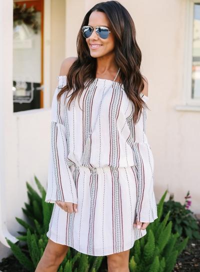Stripe Off Shoulder Long Sleeve Mini Dress