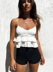 Spaghetti Strap Sleeveless Backless Ruffle Top