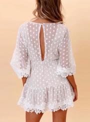 V Neck Polka Dots Lace Dress