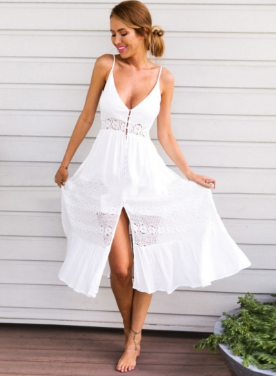 V Neck Sleeveless Backless Slit Beach Dress OP252738-8
