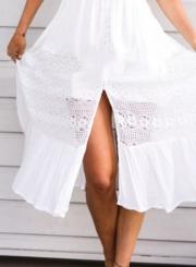 V Neck Sleeveless Backless Slit Beach Dress