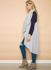 Fashion Sleeveless Solid Color Asymmetric Design Open Front Vest