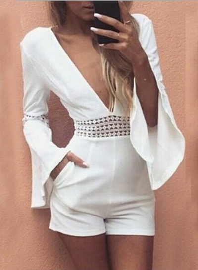V Neck Flare Sleeve Hollow out Romper