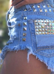 Fashion Rivet Denim Shorts with Tassel