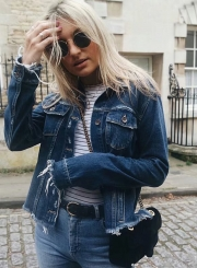 Fashion Long Sleeve Ripped Denim Jacket
