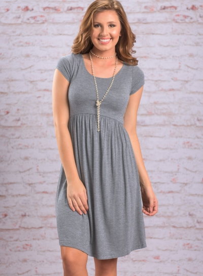 Short Sleeve Pleated Swing Dress