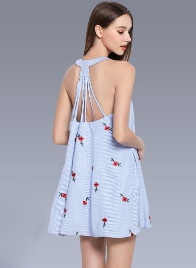 Stripe Floral Embroidery Sleeveless Halter Dress
