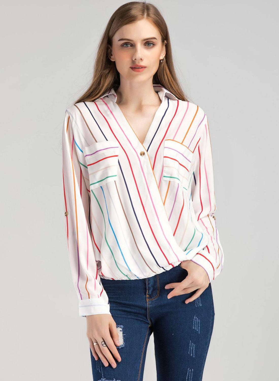 9218868b175cd0 Stripe V Neck Chiffon Blouse Stylesimo. Funcee Plus Size Women Zipper V  Neck Blouse Loose Chiffon Long Sleeve Tops