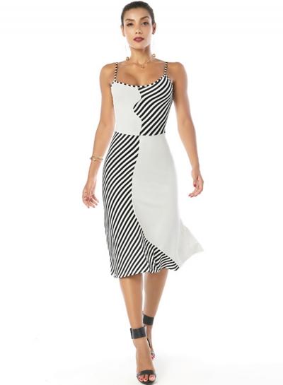 Spaghetti Strap Sleeveless Contrast Color Stripe Dress