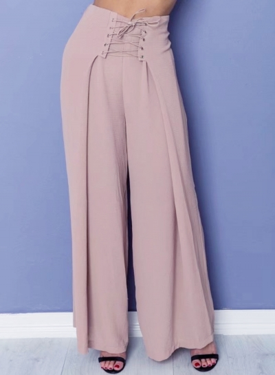 Fashion Lace-up front Loose Fit Wide Leg Pants