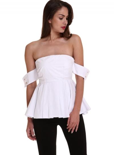 Fashion Off Shoulder Short Sleeve Pleated Blouse