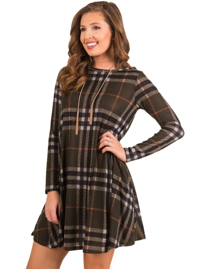 Fashion Round Neck Long Sleeve Plaid Printed Dress