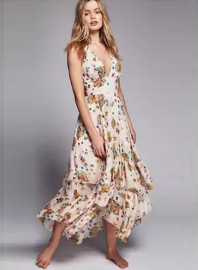 V Neck Sleeveless Floral Irregular Maxi Dress
