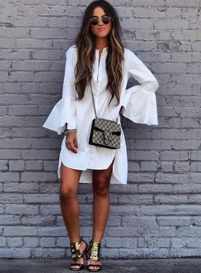 Casual Flare Sleeve High Low Shirt Dress